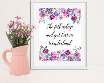 Alice in Wonderland Nursery Nursery Poster, Nursery printable, Whimsical prints, Print Alice in Wonderland, Girl's room print wall art