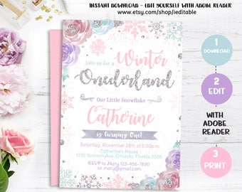 Winter Onederland Birthday Invitation, Snowflake, Girl 1st birthday invite, Pink Purple Silver, Winter wonderland, Instant download editable