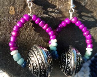 MerGoddess purple and blue hoop earrings