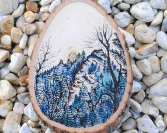 Shadow Mt. on Wood Disk-Made to Order-Contact for Price