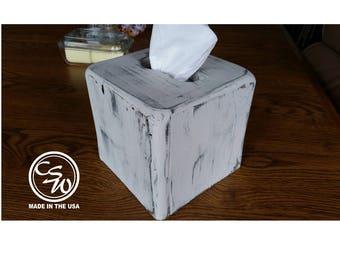Tissue Box Cover, Square Tissue Box Holder, Tissue Box Cover Holder, Rustic Tissue Box Cover, Primitive Painted Tissue Box Cover