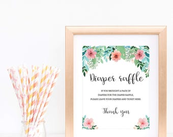 Diaper Raffle Sign Boho Baby Shower Diaper Game Sign Pink Flowers and Greenery Baby Sprinkle Games Printable Editable PDF Fun Activity FG1