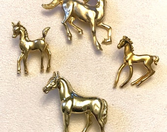 Vintage and Newer Gold Tone Horse Brooches Horse Brooch Lot Horse Scatter Pins
