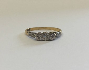18ct Gold And Platinum Trilogy Ring With Illusion Set Diamonds