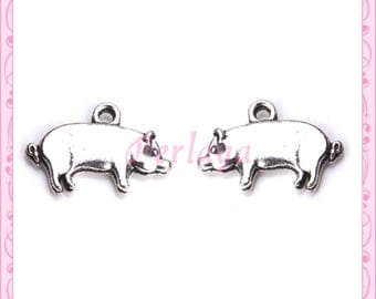 Set of 15 silver pig charms REF452X3