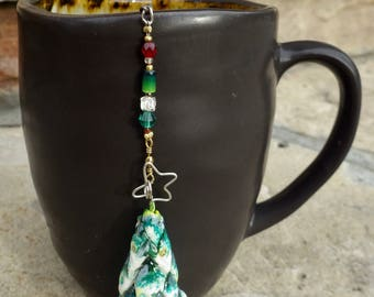 Christmas Tree Tea Infuser with Light Blue Dish