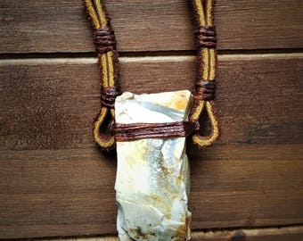 Leather and Crysal Pendant