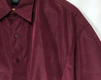 80's Men's L Red Textured Polyester City Impact Short-Sleeve Button-Down Shirt