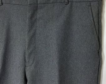 70's Men's 38x30 Grey/Gray All Seasons Comfort Action Slacks Heather Stretch