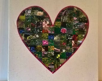 paper collage and stitch heart artwork