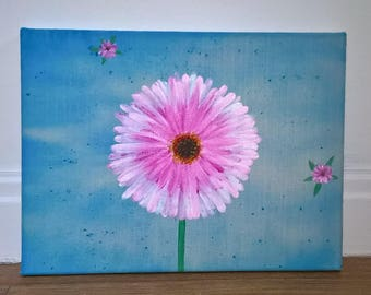 small pink flower canvas