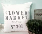 Flower Market 20 X 20 Distressed Decorative Throw Pillow Cover *Free Shipping*