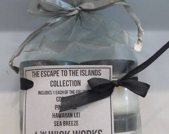 Four Pack Soy Candle Gift Set, Escape to the Islands