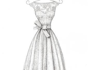 Custom Wedding Dress Illustration - Single View