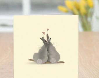 Bun Fun - Cute and Quirky Rabbit Card from Funny Bunnies Collection (Anniversary/Romantic - Blank Inside)