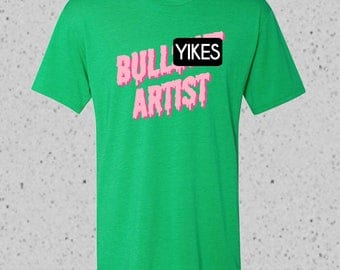 "Fake ""Bullsh*t Artist"" Super Soft Tri-Blend T-Shirt in Drippy Pink Print, Made-to Order"