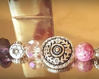 Pink Flower Beaded Bracelet w/matching Earrings