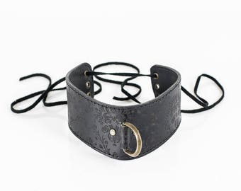 Leather Collar Black, bdsm submissive collar made in Italy, christmas couple gift, sub gift