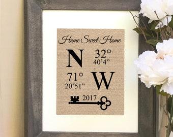 ON SALE New Home Housewarming Latitude Longitude Coordinates Burlap Print