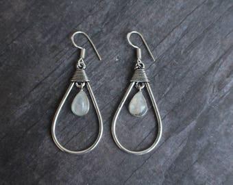 Sterling Silver Rainbow Moonstone Dangle Earrings, Hoop, Blue flash, Gift