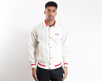 Vintage Varsity Jacket / Mens White and Red Tridel Bomber Jacket / Large Nylon Windbreaker Rain Coat