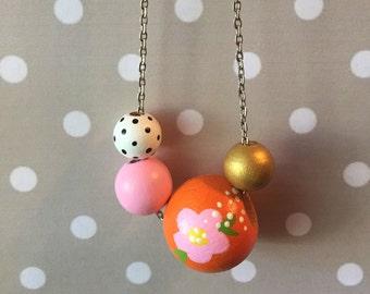 Statement Necklace // Orange and Pink Floral Design