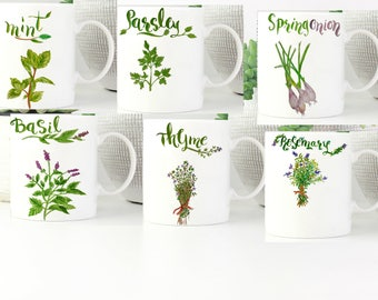 Set of 6 mugs - coffee lovers gift basket - custom print mug - mug set - Herbs kitchen art - custom printed mugs - Kitchen mug - 11 oz mug