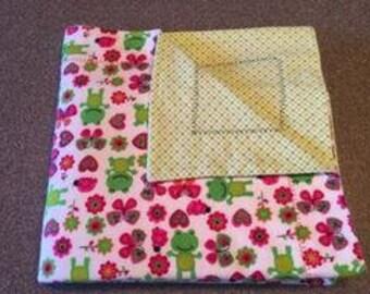 Baby Blanket, Red, Green, Flannel, Double Layered Reversible,  Gender Neutral, Self Binding, Receiving Blanket Gift