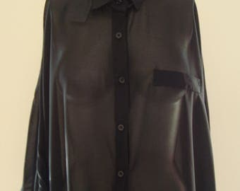 80's Sheer Batwing Blouse (M)
