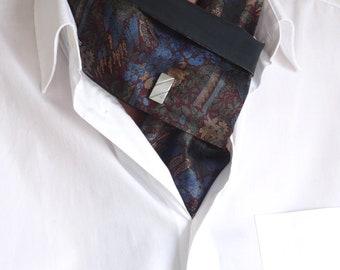 Cravate revisitée réversible soie noeud Jack.B avec bouton de manchette