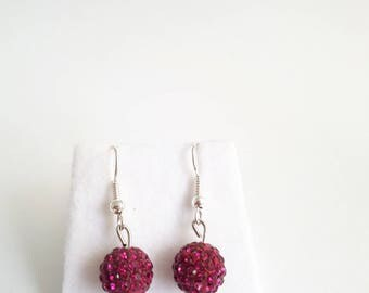Pink Pave Crystal Drop Earrings