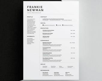 Frankie Resume/CV Template | Word | Photoshop | InDesign | Professional Resume Design | Cover Letter | Instant Download