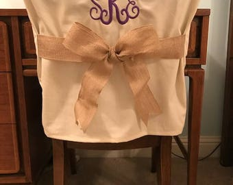 Monogrammed Dorm Chair Back Cover / Personalized chair Cover / Office Chair / Dining Chair/ One Size Fits Most