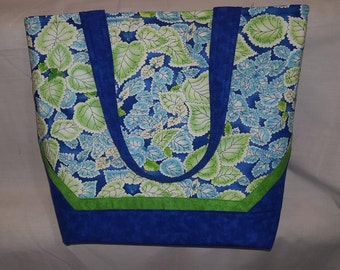 New blue and green tote bag purse with magnetic snap closure