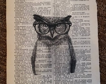 Vintage Dictionary page, Owl, Book Art