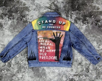 Kids Denim Customized Jean Jacket | FREE INTERNATIONAL SHIPPING | Vintage Inspired Cosmic Children of The Universe