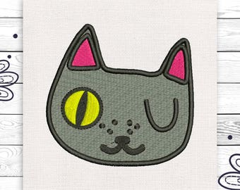Winking cat embroidery Discount 10% Digital embroidery design 4 sizes INSTANT DOWNLOAD EE5045