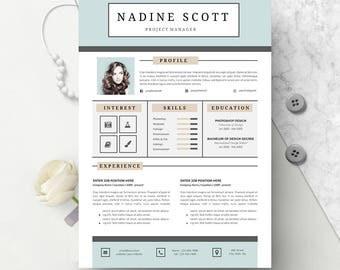 4 Page Modern Resume Template Instant Download | CV template + Cover Letter | DIY Printable | Professional and Creative Resume Design |