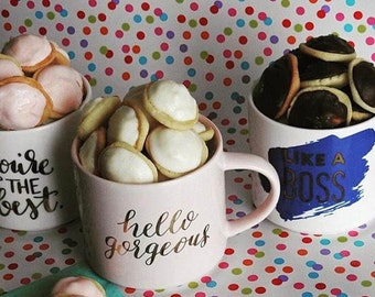 Le Petit Beurre Mug and Cookie gift set, gift for her, gourmet cookies, birthday gift, college care package, hostess- housewarming gift