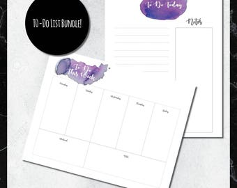 PRINTABLE To-Do List BUNDLE: Purple & Grey Watercolor