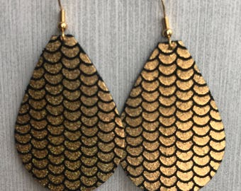 Black with Gold Scales - Leather Teardrop Earrings