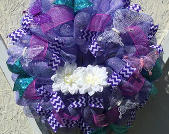 Spring Wreath, Summer Wreath, Deco Mesh Wreath, Front Door Wreath