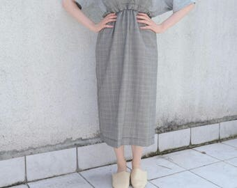 Grey Checked Dress- Dungaree- Pinafore Dress- Ruffles- Cotton