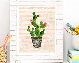 Water Color Cactus Art ~ Printable Art ~ Digital Download ~ Home Office Dorm Decor Wall Art Printable