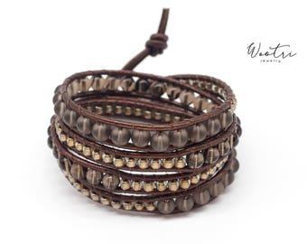 Quartz Beaded Leather Wrap Bracelet for Women Smoky Quartz Jewelry Brown Leather Bracelet Gemstone Bracelet Women Leather Wrap Beaded Wrap