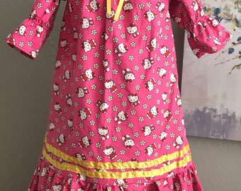 """Girls pink """"little Kitty"""" nightgown with ruffles and ribbon"""