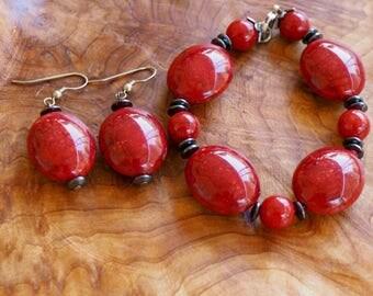 Handmade Earring and Bracelet Set (red)
