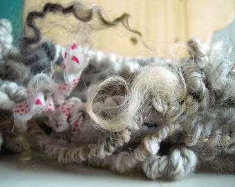 """Handspun textured art yarn """"Natural"""", wear as infinity scarf, use in weaving, felting, knitting, crocheting or use as doll hair"""