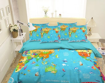 World map bedding etsy 3d world map 151 bedding bed pillowcases quilt duvet cover set twin single size full size gumiabroncs Gallery