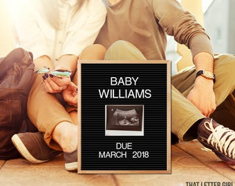 Pregnancy Announcement Card, Letter Board, Black and White, Pregnancy Photo Prop, Ultrasound Announcement, Printable, Print, Vintage